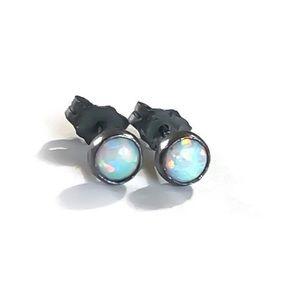 Oxidized 925SS White Fire Opal Stud Earrings